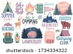 Camping, Hiking, Adventure letterings. Wild animals, fireplace, mountains, tents and other elements. Flat Vector illustration.