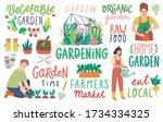 gardening letterings  working... | Shutterstock .eps vector #1734334325