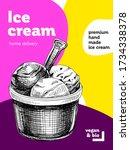 ice cream scoops in bowl  retro ... | Shutterstock .eps vector #1734338378