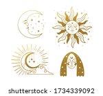 set of beautiful golden... | Shutterstock .eps vector #1734339092
