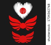 Japan Flag Heart Red Sun Wings...