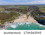 Aerial photograph of Porthtowan Beach, Cornwall, England