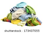 a pile of clothes on white... | Shutterstock . vector #173437055