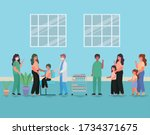 female and male doctors... | Shutterstock .eps vector #1734371675