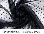 Black Lace. Polka Dot Fabric....