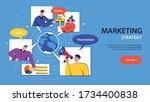 flat horizontal banner with... | Shutterstock .eps vector #1734400838