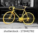 B W Photo Of Old Yellow Bike On ...