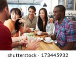 group of friends meeting in... | Shutterstock . vector #173445932