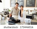 male and female staff in coffee ...   Shutterstock . vector #173446016