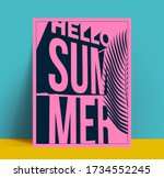 hello summer vintage pink... | Shutterstock .eps vector #1734552245