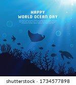 happy world oceans day... | Shutterstock .eps vector #1734577898