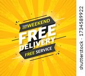free delivery flat banner on... | Shutterstock .eps vector #1734589922