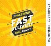 fast service flat banner on... | Shutterstock .eps vector #1734589925