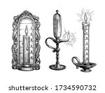 candle and oli lamp clock. ink... | Shutterstock .eps vector #1734590732