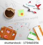 travel concept. the plane  cup... | Shutterstock . vector #173460356