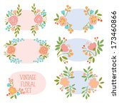 vector set with vintage flowers | Shutterstock .eps vector #173460866