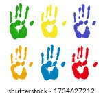 colorful rints of human hands....   Shutterstock . vector #1734627212
