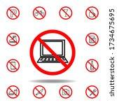 forbidden laptop icon. set can...