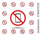 forbidden phone icon. set can...