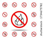 forbidden fire icon. set can be ...