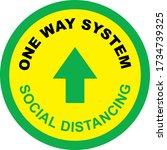 one way system shop floor sign... | Shutterstock .eps vector #1734739325