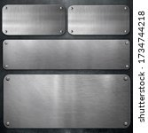 metallic stainless steel...   Shutterstock . vector #1734744218