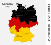 map of the germany in the... | Shutterstock .eps vector #1734748565