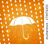 white umbrella and rain drops... | Shutterstock .eps vector #173476352