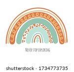 hand drawn boho rainbows in...   Shutterstock .eps vector #1734773735