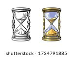 old gold hourglass. time... | Shutterstock .eps vector #1734791885