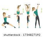 woman fitness. workout aerobic... | Shutterstock .eps vector #1734827192