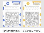 set trace letter worksheet a4... | Shutterstock .eps vector #1734827492
