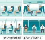 people in public transport... | Shutterstock .eps vector #1734846548
