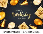 gold lettering happy birthday...   Shutterstock .eps vector #1734859238