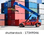 containers stacked in port with ... | Shutterstock . vector #17349046