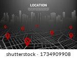 3d location pin marker on city... | Shutterstock .eps vector #1734909908
