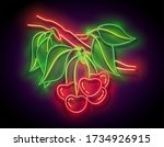 glow cherry on the branch ... | Shutterstock .eps vector #1734926915