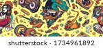 retro music seamless pattern.... | Shutterstock .eps vector #1734961892