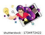 flying boy with studying icon... | Shutterstock .eps vector #1734972422