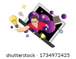 flying boy with studying icon... | Shutterstock .eps vector #1734972425