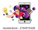 flying boy with studying icon... | Shutterstock .eps vector #1734972428