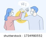elbow bump new normal greeting... | Shutterstock .eps vector #1734980552