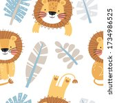 seamless pattern with cute... | Shutterstock .eps vector #1734986525