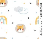 seamless pattern with cute... | Shutterstock .eps vector #1734986528