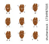 cartoon walnut set with... | Shutterstock .eps vector #1734987035
