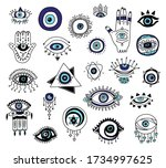 set of decorative evil eyes and ... | Shutterstock .eps vector #1734997625
