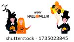 happy halloween. children in... | Shutterstock .eps vector #1735023845