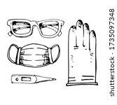 medical antiviral kit   gloves  ... | Shutterstock .eps vector #1735097348
