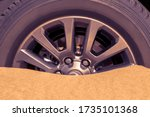 Close Up Of A Car Wheel Stuck...