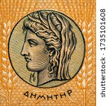 Small photo of Ancient coin with Demeter, Portrait from Greece 10 Drachmai 1940 Banknotes.